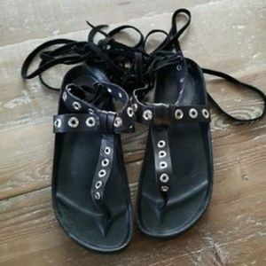 Zara Black Leather Studded Lace up Sandals